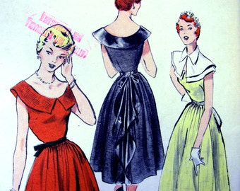 UNCUT * 1950s Butterick Pattern 5502  -  Junior Girls' CHARMING Cape Collared Dress with Cascade Drape  /  Bust 33