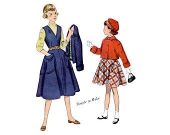 1950s Girls Jumper Skirt and Jacket Pattern Flared V Neck Jumper Big Pocket Skirt Crop Jacket Simplicity 3320 Size 8 Vintage Sewing Pattern