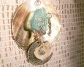 Sea Shell Mermaid Love you to the Moon and Back Necklace Nautical Ocean Sea glass Love you to the Moon and back Ocean Fish Pendant