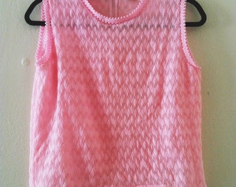 60's Bubble Gum Pink Knit Top