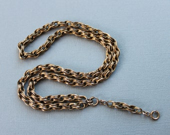 Ornate Victorian Collar / Y Chain Necklace / Milgrain Border / Antique Locket Chain / S.O.B. Sidney O. Bigney