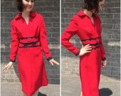 RESERVED 1960s 1950s Red Cocktail dress with Gray Leather Detail Deadstock!
