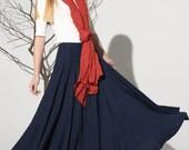 blue skirt, Dark blue skirt, linen skirt,  maxi skirt, ladies skirts,maxi skirt, spring skirt, pleated maxi skirt,gift for her  (1156)