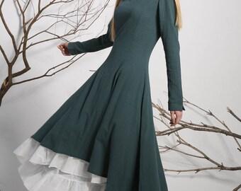Green Dress,Linen Dress,Casual Dress,womens dresses,Maxi dress,Long dress,Prom Dress,Fall dress,linen clothing,ethnic dress,Custom made 1134