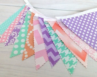 Bunting, Banner, Fabric Flags, Baby Girl Nursery Decor, Photography Prop - Pastel, Lavender, Peach, Mint Green, Pink, Chevron, Damask, Dots