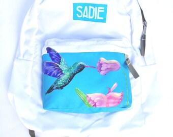 Custom JanSport Backpack - Hummingbird and Flowers