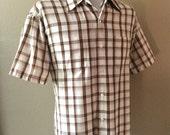 Vintage Men's 80's Shirt, Brown, White, Checkered, Button Up, Short Sleeve (XL)