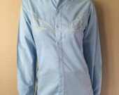 Vintage Men's 60's Rockabilly Shirt, Blue, Button Up, Long Sleeve by Mad Man (S)