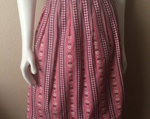 Vintage Women's 50's Pink, Skirt, Checkered, Fully Lined, Knee Length by Ben Reig (S)