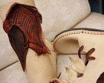 Elf Wrap Moccasin w/ Brown Leaf applique Hand Stitched Thick Bullhide Leather Upper With a Vibram Sole / Hobbit  Renaissance Faerie