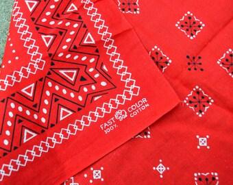 Vintage Fast Color Red Geometric Bandana Kerchief Cotton Scarf - Elephant Trunk Up
