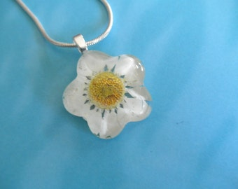 Bright White Daisy Glass Flower Shaped Pressed Flower Pendant-Symbolizes Innocence, Loyal Love-Nature's Wearable Art-Gifts Under 25