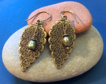 Victorian Antique Brass Leaf Earrings with Pearl