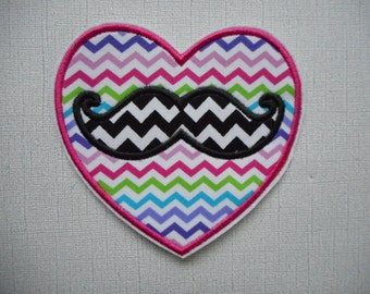 Free Shipping Ready to Ship  Heart  Mustache  Fabric Iron on applique