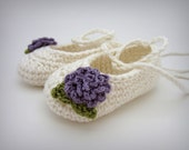White and Purple Baby Girl Booties - newborn baby girl shoes with flowers