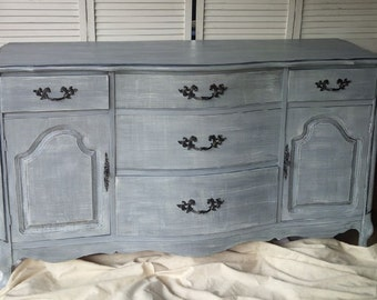 Sideboard Bow Front Vintage Buffet Grey Linen Finish Custom PAINT to ORDER Poppy Cottage Painted Furniture