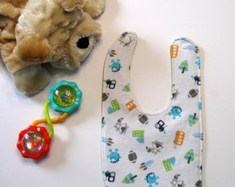 Baby Girl or Boy Bib, Triple Layer with Waterproof Lining in the Middle.  Soft Flannel Front and Back