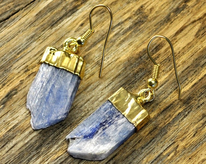Kyanite Earrings, Kyanite Gold Earrings, Kyanite Slice Earrings, Kyanite Pendant Earrings, Kyanite Stone Earrings, 14k Gold Fill Ear Wire