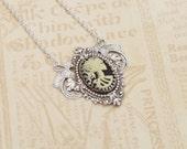 Lady death cameo necklace antique brass