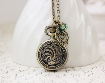 Peacock Pocket Watch Necklace in Antique Brass. Gift for her under 30 usd.