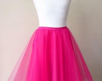 Pink tulle skirt Pink tutu Tulle circle skirt Pink net skirt 50s mint skirt Pink prom skirt Pink circle skirt Bridesmaid skirt