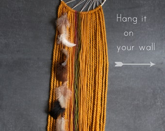 Dream Catcher - Sunburst Weaving, Feathers and Orange Yarn