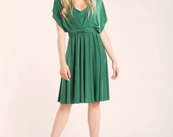 Green dress, short bridesmaid dress, emerald green infinity wrap dress, infinity wrap dress, knee length wrap dress, feminine green dress