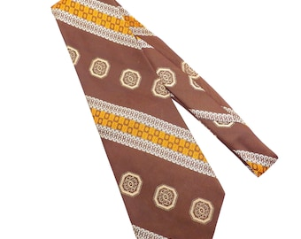 Brown Tan and Orange Patterned Tie Super Wide Vintage 1970s Mens Necktie - FREE Domestic Shipping