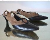 40s Suede & Leather KITTEN HEEL Slingbacks / Womens 9 / vintage 2 Tone Kitten Heel Sling-back shoes Fall