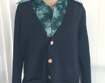 Vintage Men's Hip Black Wool Cardigan -- Gold toned buttons -- Size M