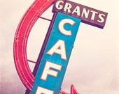 Route 66 Sign Photography - Cafe Art - Grant's Cafe - kitchen wall art, dining room decor, rose smoke, olympian blue