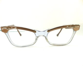 50s Browline Cat Eye Eyeglasses Women's Vintage 1950's Taupe & Silver Engraved Frames USA #A6
