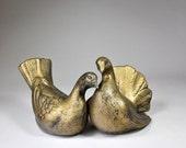 Mid Century Bird Figurines, Vintage Gold Birds, Love Birds, Ceramic Bird Figurine, Retro Bird Decor, California Pottery, 1960s