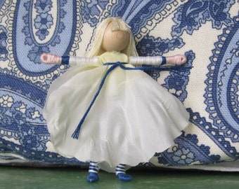 White and blue Flower Fairy,  Fairy doll, fairy,  Garden fairy, pixie doll, Red Head, Waldorf Doll, bendy doll