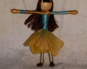 Waldorf Flower Fairy - Cream and Blue, brunette, art doll, bendy doll, worry doll, pocket pal