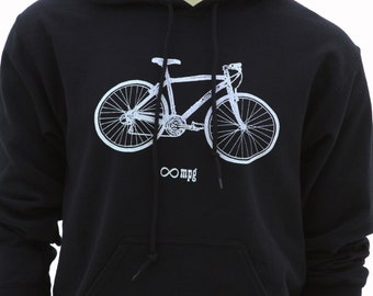 Bicycle| Classic Men's Pullover Hoodie| Infinite MPG| art by MATLEY| Unisex| S - 3XL| Big sizes| Cyclist| Gift for him and her.