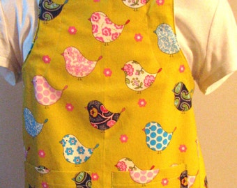 Child's Apron--Green and Pink Birds