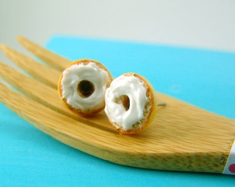 Food Earrings // Bagel Earrings with Cream Cheese // MADE TO ORDER // Post or Clip On Earrings