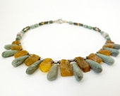 BALTIC Amber and Turquoise Necklace with sterling silver beads and clasp