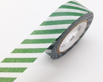 MT Diagonal Cobalt Green Washi Tape Japanese MT Orange Masking Tape - Pretty Tape
