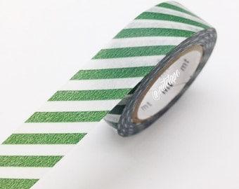 MT Diagonal Cobalt Green Washi Tape Japanese MT Orange Masking Tape - Pretty Tape