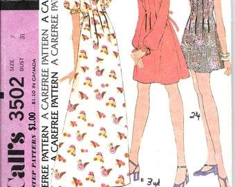 "McCALL'S 3502 Size 7 Bust 31"" Junior Empire Waist Flutter Ruffle Puffed Short Sleeves Mini Maxi Dress Vintage 1970's Pattern"