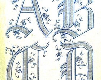 antique french embroidery alphabet illustration digital download