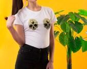 BONE BOSOMS T-shirt, Skull T-shirt, Skull Tee, White Tee, Skeleton T-shirt, Limited Edition T-shirt