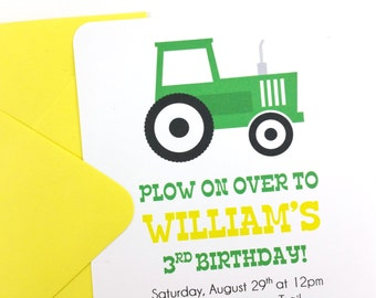 Green Tractor Party Invitations, Tractor Birthday Invitations, Tractor Invitations - SET OF 12