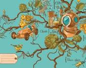 Retro und Steampunk illustrierte Postkarte: Botanischer Taucher