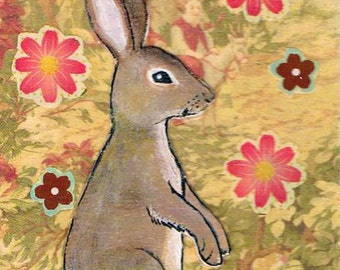 Bunny Rabbit, Original Mixed Media ACEO, Collage, Unique gift for Easter!
