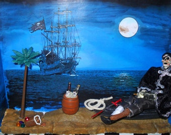 Pirate Skeleton Diorama - Shadow Box Assemblage - Pirates of The Caribbean Inspired Art - Gift for Him - Man Cave Gift