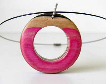 Recycled Skateboard Pink with Purple Spike and Black Graphic Smooth it Out Pink Donut Necklace-Wooden Pendant