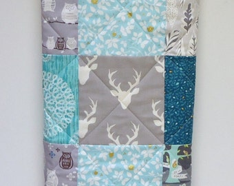 Baby Quilts for Boys-Woodland Baby Quilt-Rustic Boy Bedding-Modern Crib Blanket-Buck-Deer-Owl-Fox-Aqua-Teal-Turquoise-Gray-Grey-Charcoal
